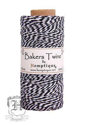 Hemptique Cotton Baker's Twine Black & White 2-Ply 1mm 410 ft 125 m