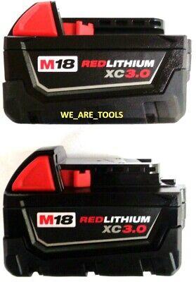 (2) GENUINE 18V Milwaukee 48-11-1828 3.0 AH Batteries M18 XC Red Lithium 18 Volt