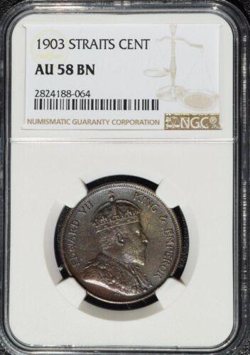 1903 Straits Settlements 1 Cent, NGC AU 58, Malaysia