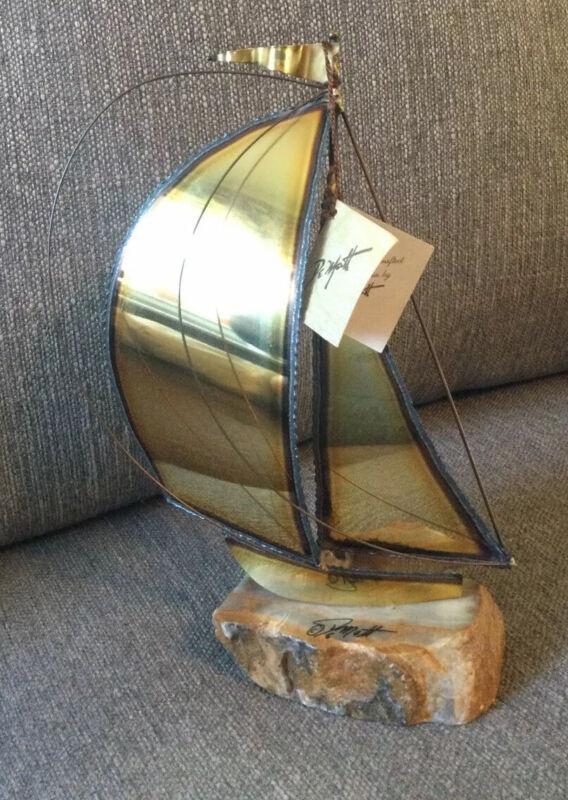 "Vintage Sailboat Sculpture By DeMott 1975 Brass Metal on Marble Signed 10"""