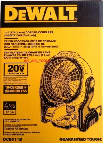 "NEW IN BOX Dewalt DCE511B 20V Cordless & Corded 11"" Jobsite Fan 20 Volt MAX"