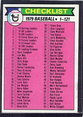 1979  CHECKLIST - (CLEAN) - Topps Baseball Card # 121 - Number 1 Thru 121