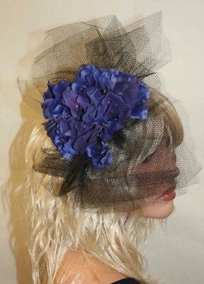 Wedding Fascinator with flowers and veil, Wedding Accessories, Helloween - Flowers And Veil