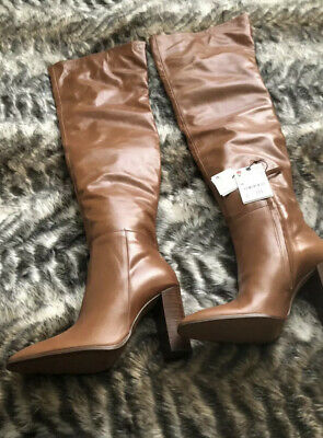 Used, Zara Over The Knee Thigh High Leather Boots Tan RRP £159.99 U.K. 4 EUR 37 US 6 for sale  Shipping to Ireland