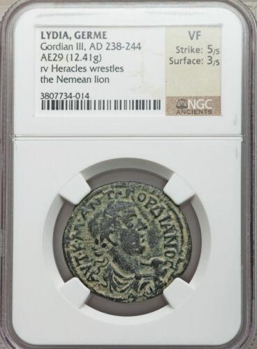 Lydia Germe  Gordian III AD 238-244 AE 29 -  (12.41g,wrestling Nemean Lion. NGC