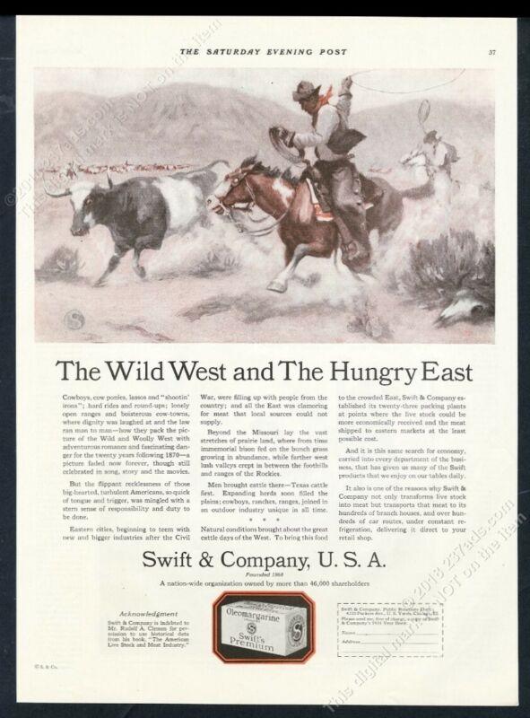 1924 longhorn cattle drive cowboy Wild West art Swift meats vintage print ad