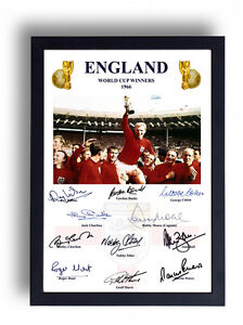 FULLY SIGNED ENGLAND 1966 WORLD CUP FINAL PRINT BOBBY MOORE CHARLTON HURST BALL
