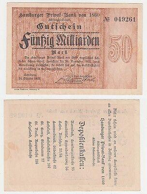 50 Milliarden Mark Banknote Hamburger Privat Bank 24.10.1923 (115814)