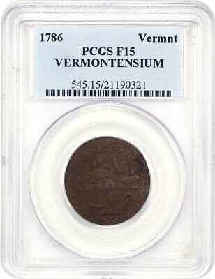 1786 Vermont PCGS F15 (VERMONTENSIUM) Neat Colonial Issue - Colonial Coinage