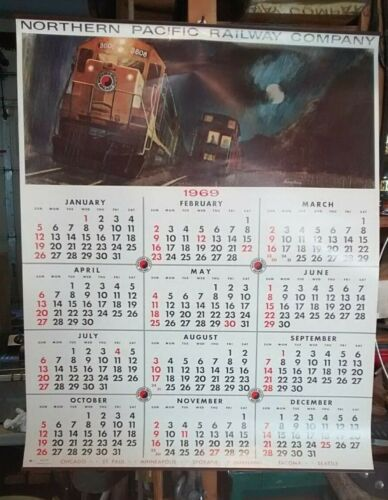 Vintage New Old Stock NOS 1969 Northern Pacific Railroad Calendar Freight Train