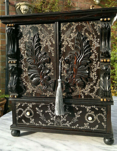 """Early 19thc Antique Anglo Indian Coromandel Inlaid Desk Top Writing Cabinet 15"""""""