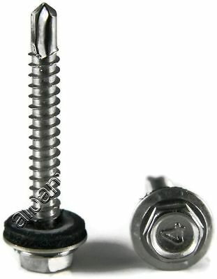 Stainless Steel Roofing Siding Screws Hex Washer Head Tek Epdm 10 X 34 250pc