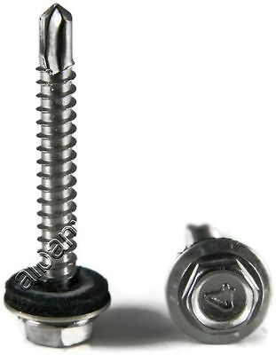 Stainless Steel Roofing Siding Screws Hex Washer Head Tek Epdm 10 X 34 100pc