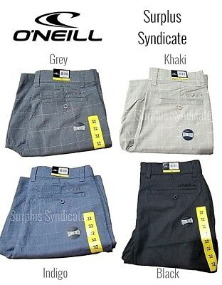 New ONeill Mens Stretch Walk Shorts Various Sizes/Colors-Khaki,Black,Indigo,Grey