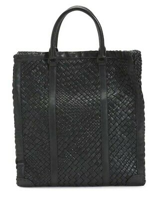 NWT FALOR Falorni La Borse ITALY Hand Woven Black F2150 Leather Tote