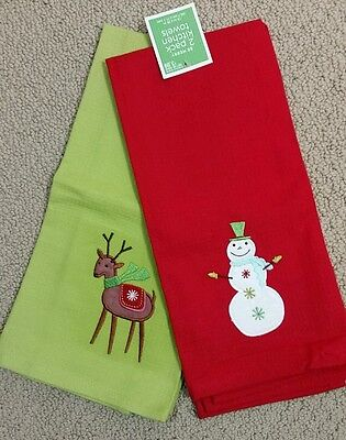 Christmas Kitchen Towels 2 Pack Snowman & Reindeer Red Green NWT