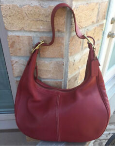 COACH Smooth RED leather Hobo PURSE Authentic
