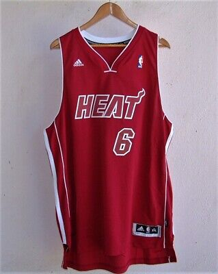 LEBRON JAMES MIAMI HEAT RED CHRISTMAS ADIDAS STITCHED BASKETBALL JERSEY 2XL