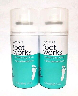 - Avon Foot Works Deodorizing Foot Spray Controls Odor & Wetness (Lot of 2)