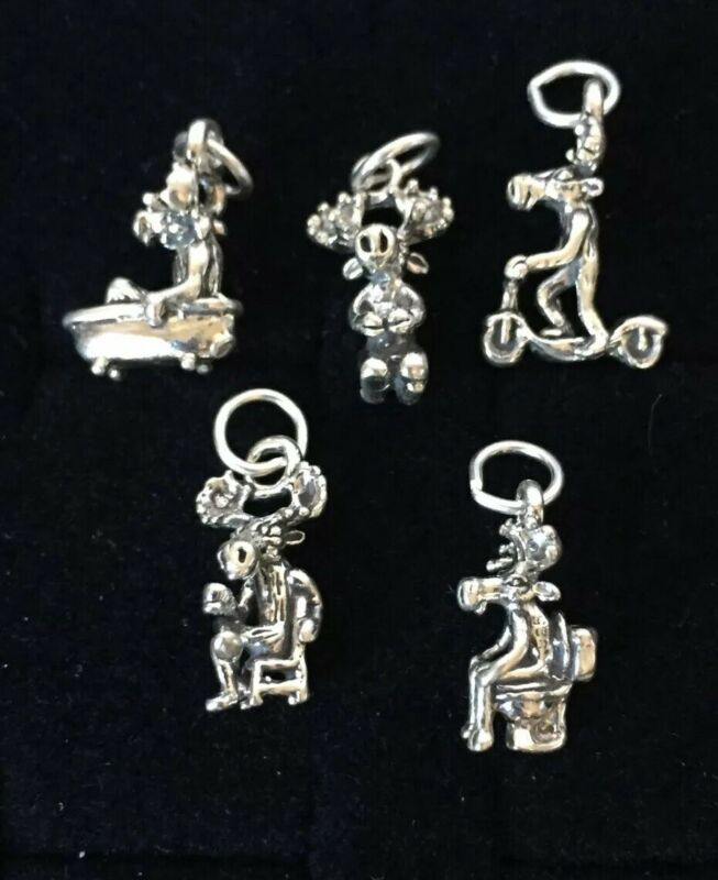 Vintage Sterling Silver Charms Alaskan Lot 45 Petite Moose Funny Wholesale 925