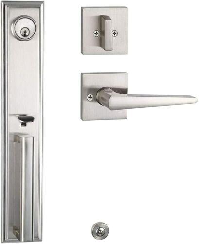 Full Plate Front Door Handleset Lock Modern Design Single Lockset Satin Nickel