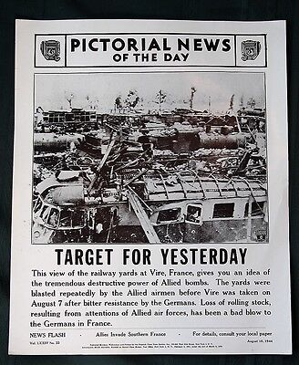 Orig 1944 News Poster   French Railroad Yards Bombed By Allies   Ww Ii