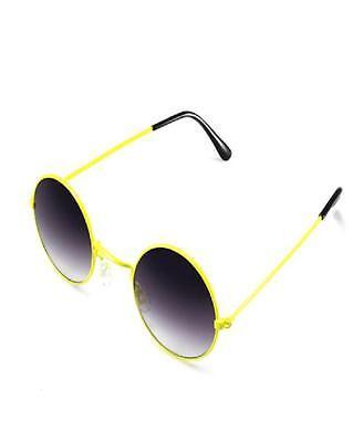 SONNENBRILLE Brille Rund  70er Jahre Style Unisex Vintage grau/gelb