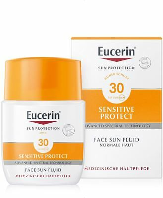 EUCERIN Sun Sensitive protect face LSF 30 Gesichtsfluid 50ml PZN 03863351 +Probe