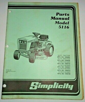 Simplicity 5116 Lawn Garden Tractor Parts Catalog Manual Mfg No.1690684 1690629