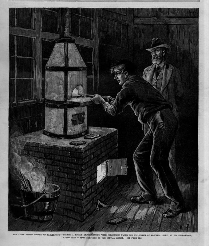 THOMAS EDISON EXPERIMENTING IN HIS LABORATORY MENLO PARK ELECTRIC LIGHT WIZARD