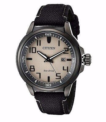 Citizen Eco-Drive Men's AW1465-06H Black Case Black Nylon Strap 43mm Watch