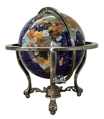 "Unique Art 21"" Tall Blue Lapis Ocean Table Top Gemstone World Globe Silver Tripo"