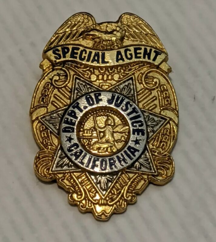 Vintage California Department of Justice Special Agent Badge Lapel Pin Obsolete