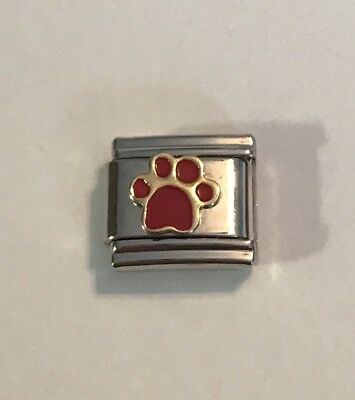 Dog Puppy Paw Print - Red - Gold Tone Trim 9mm Italian Charm Link For Bracelet](Red Paw)