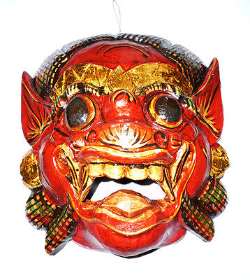 Red Wooden Monkey Mask Of Barong, Hand-carved In Bali, Wall Mask,