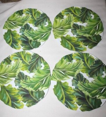 Tropical Plates (Tropical Palm Leaves Heavy Dinner Plates Melamine Set of 4 Green)