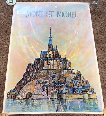 "Original 1950's/60's MONT ST. MICHEL Travel Poster, Earl Thollander, 25.5x37.5"""