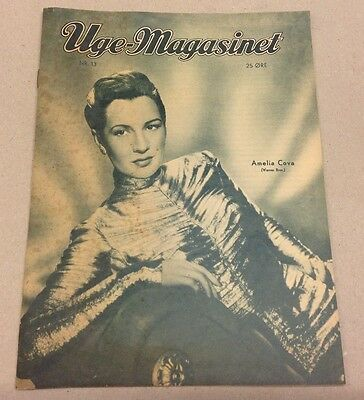 Amelia Cova Warner Bros On Front Cover Old Original Vintage Danish Magazine 1952