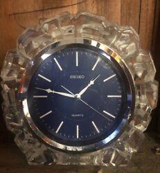 Vintage SEIKO Quartz Mantle Desk Clock Chunky Glass Iceburg Set in Ice Sculpture
