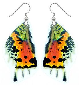Real Handmade Butterfly Wing Earrings-Resin Coated Drop/Dangle Butterfly Jewelry