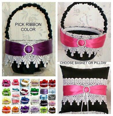 Custom Ribbon Color Black with White Lace Flower Girl Basket OR Ring - Custom Ribbon