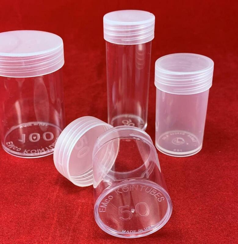20 Round Clear Plastic Coin Holder Tubes Combo Pack/ Qtr, Half $, Sm $, Silver $