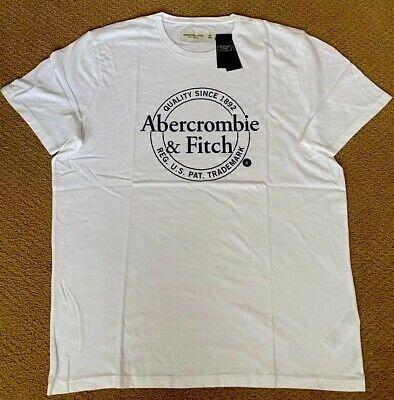 abercrombie & Fitch Short Sleeve Logo Tee White, XL New 100%cotton