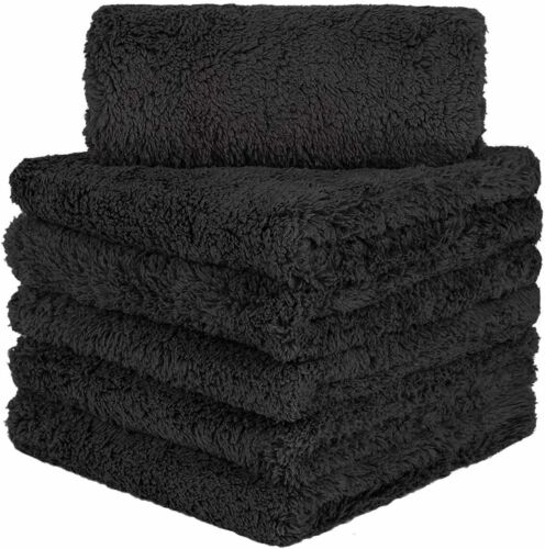 6 Pcs Edgeless Ultra Plush Microfiber Car Drying Towels Wash Buffing Detailing