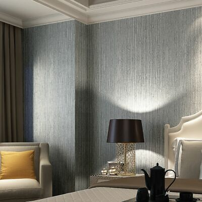 Vinyl Textured Faux Grasscloth Wallpaper Silver Metallic Wall Coverings - Faux Grass Cloth