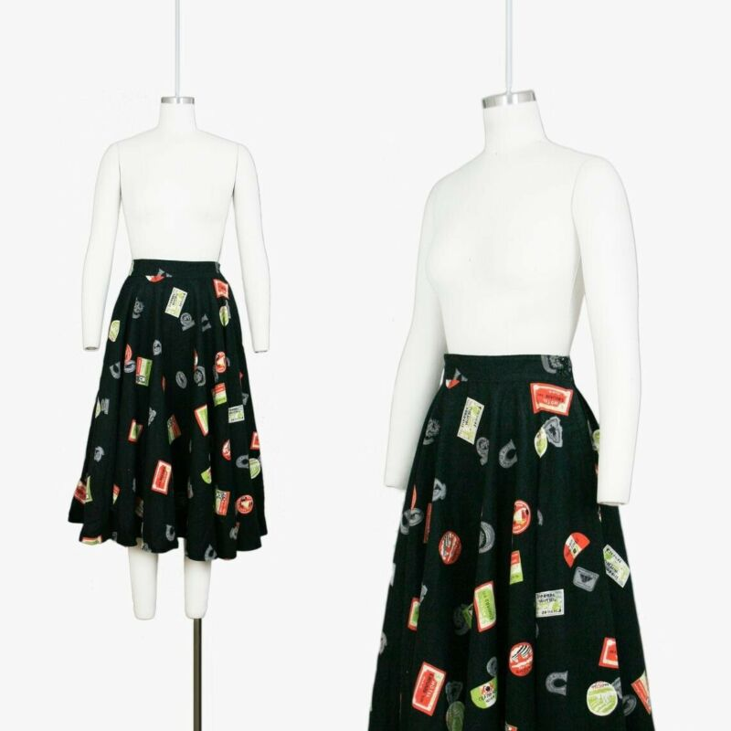 Vintage 1950s Novelty Print Felt Circle Skirt