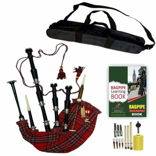 Great Scottish Highland Bagpipes Royal Stewart Black Rosewood Bagpipe For Sale