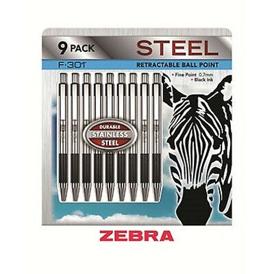 Zebra F-301 Retractable Ball Point Pen Black Ink Fine 0.7mm Stainless Steel 9 PK