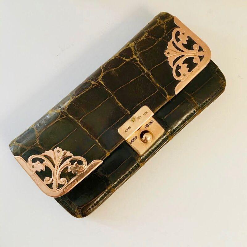 MAGNIFICENT Antique Austrian WALLET Hallmarked ROSE GOLD 375 Alligator Leather