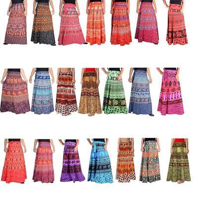 Wholesale Cotton FlORAL ART MULTI COLOR SKIRT REVERSIBLE RAPRON GYPSY FESTIVAL ](Skirt Wholesale)